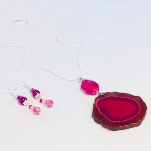 Intense Magenta Pink Purple Geode & Agate Earrings